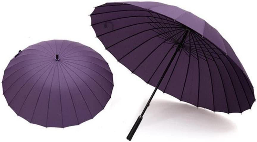 Fenleo 24 Ribs Support Extra Large Solid Color Umbrella Anti Wind and UV Protection Umbrella Purple