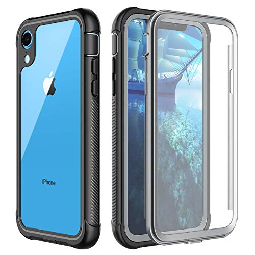 Lontect Compatible iPhone Xr Case Clear Impact Shockproof Full Body Protection Built-in Screen Protector Heavy Duty Rugged Armor Cover Case for Apple iPhone Xr 6.1 inch 2018, Black