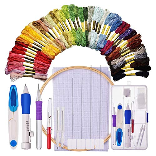 SODIAL Embroidery Starter Kit Cross Stitching Wing Kit Includes Embroidery Stitching Punch Needle t Bamboo Embroidery Hoop 50 Color Threads Cross Stitch Cloth Stitch Ripper