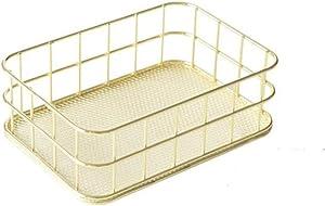 GYY Gold Desktop Metal Storage Basket Storage Box Iron Grid Storage Tray Net Basket Storage Bins for Home Decoration (Small)
