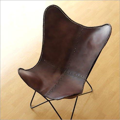レザーチェア 本革 アイアン アンティーク レトロ 革製 椅子 イス レザーチェアー おしゃれ モダン リビングチェア 革張り 背もたれ レザーバタフライチェアー [ras2755] B075KY8W92