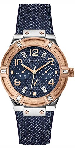 GUESS Women's W0289L1 Iconic Blue Denim Multi-Function Watch ()