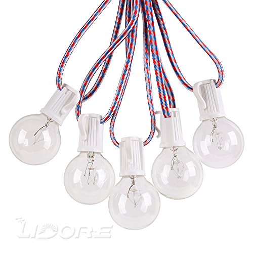 LIDORE Patio String Light with 25 G40 Clear Bulbs 25Ft Braided Red-Blue-White Cord Indoor Outdoor Used for Cafe Bistro Deck Party Wedding UL Listed Waterproof Connectable E12 Base