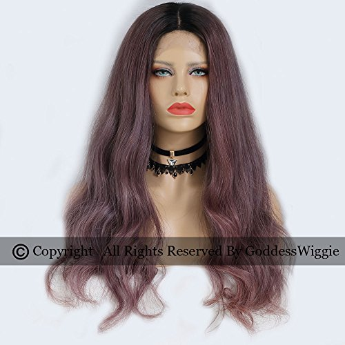 Ombre Purple Lace Front Wavy Wigs Human Hair Dusty Lavender Glueless Lace Wigs (22inch 180density) by Goddess