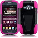 For Samsung Galaxy Prevail 2 II M840 Black/Hot Pink T-Stand Impact Hybrid Fusion Kickstand Double Layer Cover Case