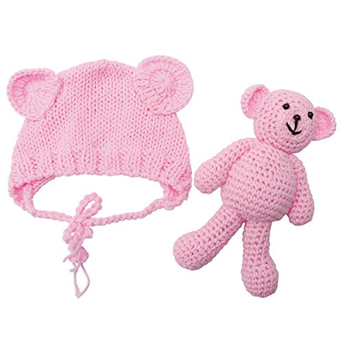 ECYC Newborn Baby Bear Hat Beanie with Bear Dolls Photography Accessories,Pink