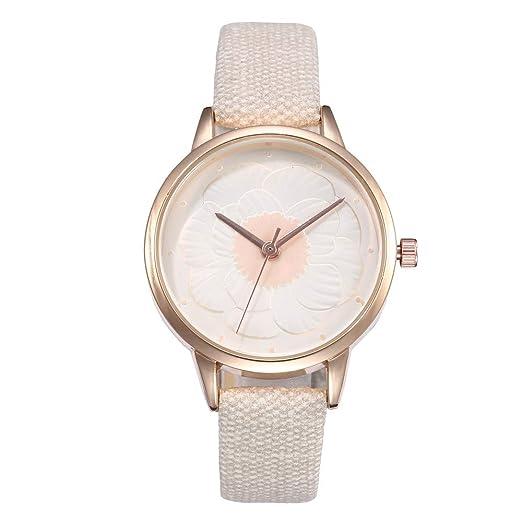 Reloj Mujer Banda De Cuero Cuarzo Analógico Redondo Muñeca Relojes Moda Watch Vintage Relojes De Pulsera Regalo: Amazon.es: Relojes