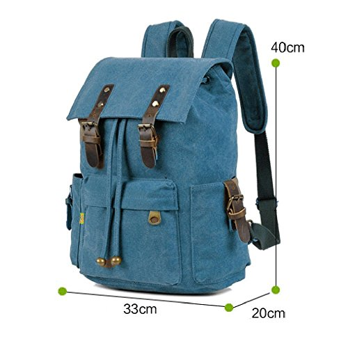 School Backpacks, P.KU.VDSL Vintage Canvas Backpack, Classic College School Laptop Backpack for Boys, Girls, Student Weekend Bag, Casual Daypacks, Traveling Rucksack, Retro Travel Bags (B - Blue)