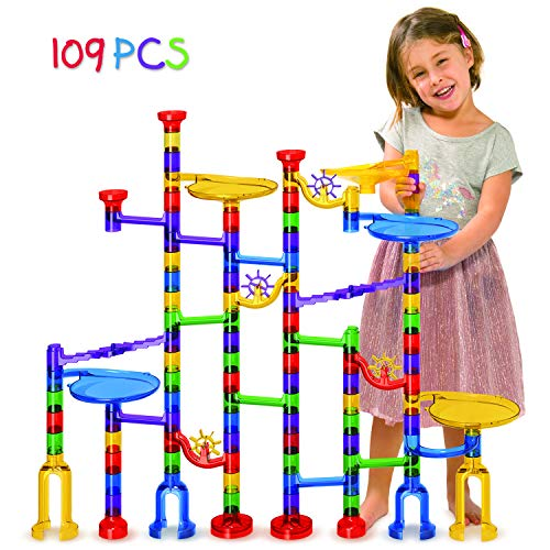 Tomi Toys Marble Run Super Set - 109 Pieces (84 Action Pieces + 25 Glass Marbles) - Marble Maze Race Track Game for Kids 4, 5, 6 Years Old and Up Marble Run Sets for Educational Learning - STEM Buil ()