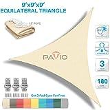 Patio Paradise 9' x9'x 9' Beige Sun Shade Sail Triangle Canopy - Permeable UV Block Fabric Durable Outdoor - Customized Available