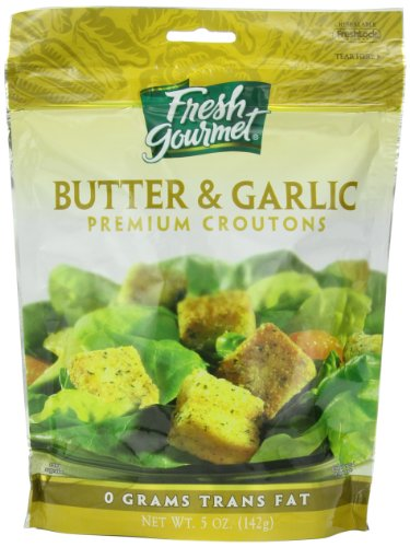 Fresh Gourmet Premium Croutons, Butter & Garlic, 5 Ounce (Pack of 6)