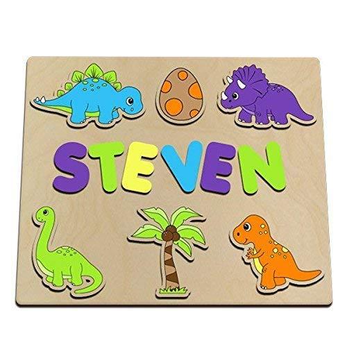 (Dinosaur Personalized Wooden Name Puzzle Dinosaurs, Egg, Coconut Tree, T Rex, Stegosaurus, Brontosaurus, Triceratops)