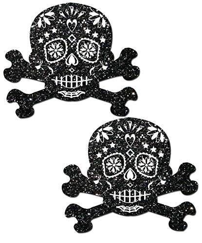[Black Glitter Candy Skull and Crossbones Pasties by Pastease o/s] (Handmade Candy Costumes)