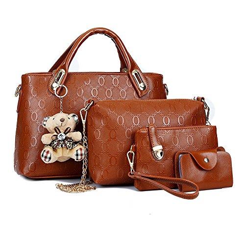 Set Set Handbags Women 4 Brown Tote Bag Bag Shoulder Bag Top Satchel Handle Bags Purse Piece xxwpvIOq