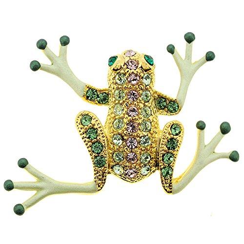 (Fantasyard Green Frog Swarovski Crystal Pin Brooch)