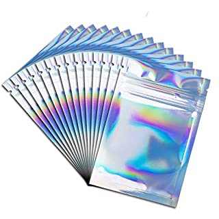200 Packs Foil Ziplock Bags Resealable Smell Proof Bags Aluminum Foil Pouch Mylar Ziplock Bags Holographic Rainbow Color (4 x 6 inch)