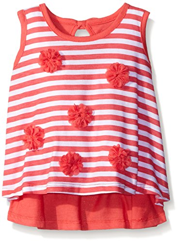 Gerber Graduates Little Girls' Toddler Sleeveless Swing Top with Rosettes, Coral Stripe, 5T