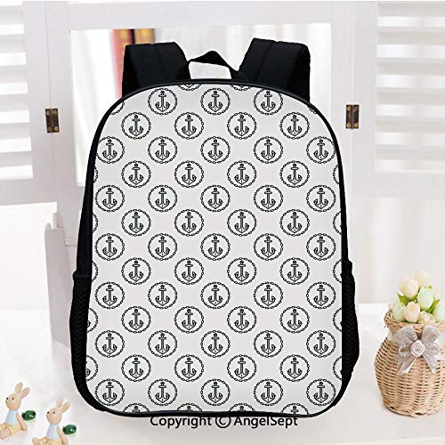 (Casual Style Lightweight Backpack Vintage Dark Blue Ship Anchors Framed by Round Chain Borders Marine Design Decorative School Bag Travel Daypack,Dark Blue White)