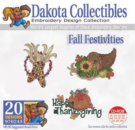 Fall Festivities 970243 Dakota Collectibles Embroidery Machine Design CD (Machine Dakota Designs Embroidery)