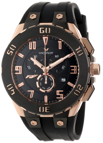 Viceroy Men's 47677-95 Falonso Rose Gold Ion-Plated Stainless Steel Black Rubber Strap Chronograph Date Watch