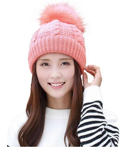 Pink Knit Beanie Hat - 6