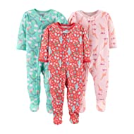 [Sponsored]Baby and Toddler Girls' 3-Pack Loose Fit Polyester Jersey Footed Pajamas