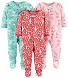 Simple Joys by Carter's Girls' Toddler 3-Pack Loose Fit Flame Resistant Polyester Jersey Footed Pajamas, Giraffe/Rainbow/Floral 2T
