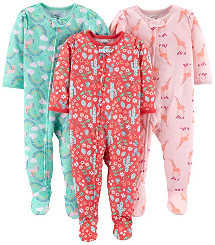 Baby Girl Footed Sleeper - Simple Joys by Carter's Girls' 3-Pack Loose Fit Flame Resistant Polyester Jersey Footed Pajamas, Giraffe/Rainbow/Floral, 18 Months