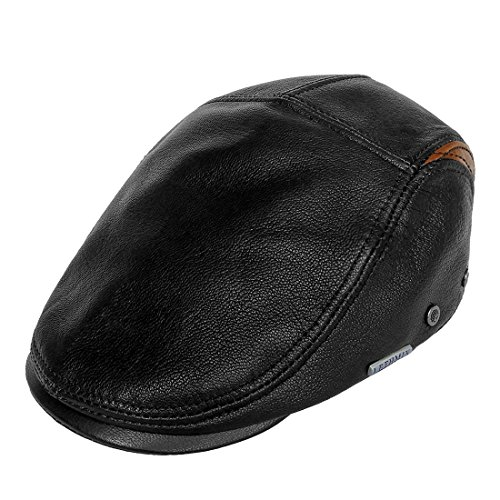 Real Irish Leather - LETHMIK Genuine Deerskin Flat Cap Irish Newsboy Ivy Hat Unique Cabbie Driving Cap Black & Brown-L
