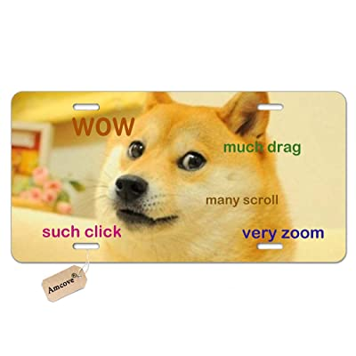 "Amcove Doge License Plate Custom,Funny Doge Aluminum Car Metal License Plate for Car Four Holes Car Tag 12"" X 6"": Automotive"
