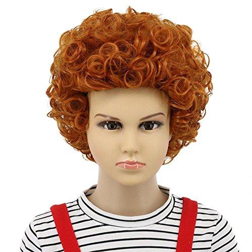 Karlery Kids Child Short Bob Curly Orange Wig Halloween Cosplay Wig Anime Costume Party Wig