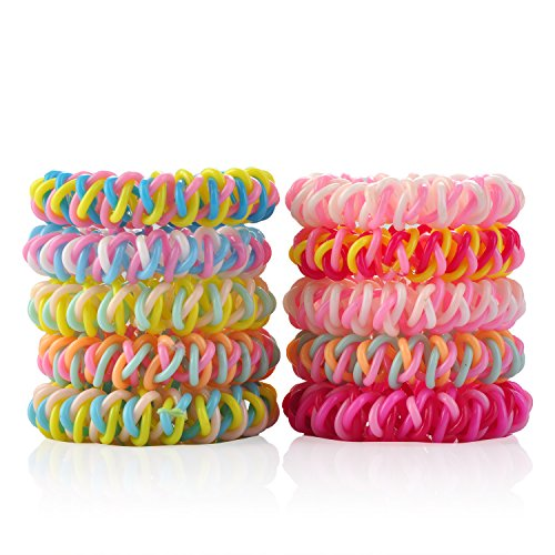 LucyGod 10PCS New Design Spiral Coil Elastic Hair Ties No Crease No Damage Ponytail Holders Rubber Bands, Random Color (Sport Coil Spring)