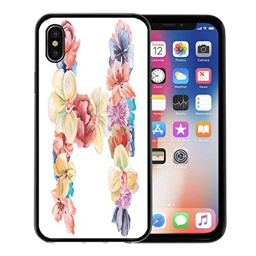 - Emvency Phone Case for Apple iPhone Xs Case/iPhone X Case,Purple Floral Letter H of Watercolor Flowers on White Soft Rubber Border Decorative, Black