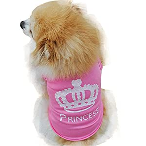 Dog Clothes Wakeu Puppy Crown Princess Pattern Tshirt Vest Clothes for Small Dog Girl,Size XS - L (Pink, XS)
