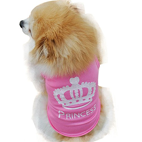 (Dog Clothes Wakeu Puppy Crown Princess Pattern Tshirt Vest Clothes for Small Dog Girl,Size XS - L (Pink, XS))