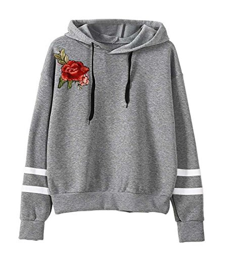 M Loose Long Floral Sweatshirts Casual amp;W Gery Hooded Sleeve Women¡®s amp;S Fashion z0w7Hnzr