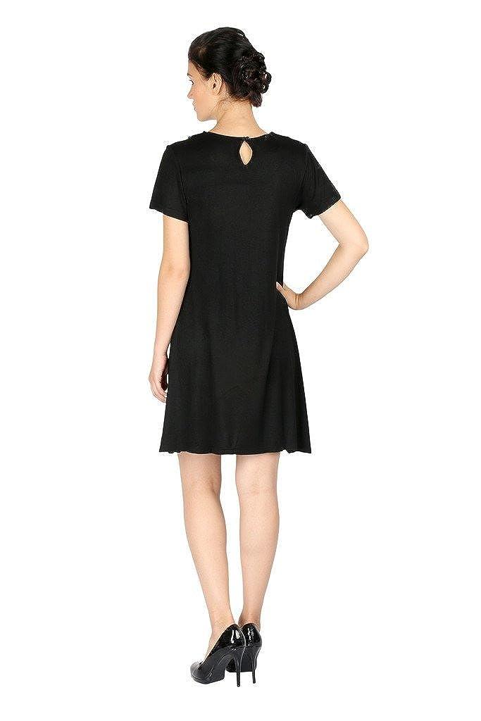 Aaliya Womens Cotton Jersey Half Sleeve Mini Casual Dress Large Black
