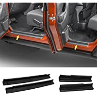 FMtoppeak One Set of 4 Pcs Front & Rear Door Sill Protector Cover Scuff Plate Entry Guards for 2007-2016 Jeep Wrangler JK 4 Door (Black)