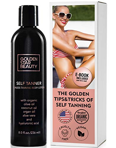 Self Tanner - Tanning Lotion w/Organic & Natural Ingredients, Sunless Tanning Lotion for Flawless Light to Medium Tan, Self Tanning Lotion - Self Tanners Best Sellers, Fake Tan