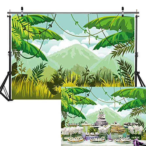 7x5ft Soft/Durable Fabric Photography Backdrop Green Spring Forest Wall Safari Jungle Birthday Party Supplies Baby Shower Decorations Background Banner]()