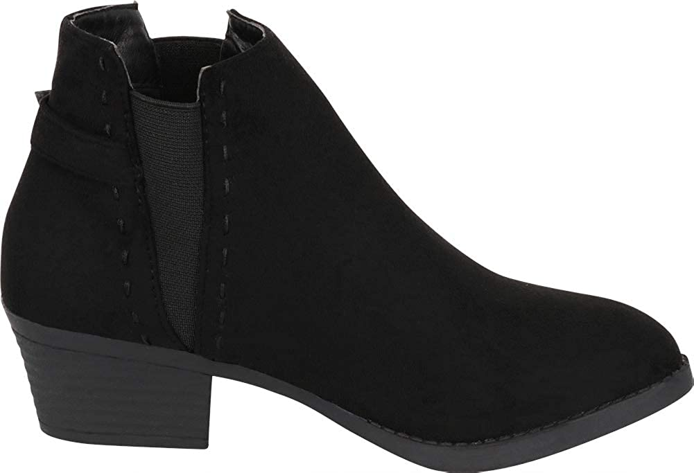 Cambridge Select Womens Chelsea Stretch Side V Cutout Low Stacked Heel Ankle Bootie