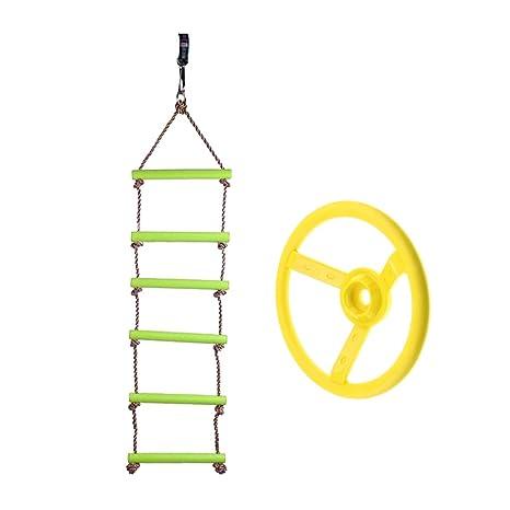 B Blesiya 120kg Escalera de Cuerda Colgante Infantil + Volante de Columpio, Juguete de Diversión