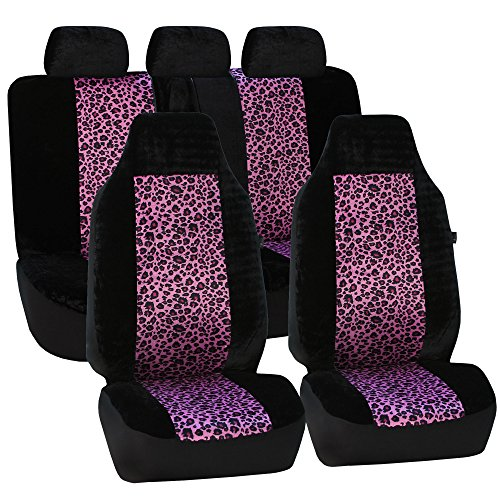 FH Group FB126115 Purple Leopard Full Set Car Seat Covers, Airbag Compatible, Two Tone Purple Leopard & Black Color- Fit Most Car, Truck, SUV, or Van