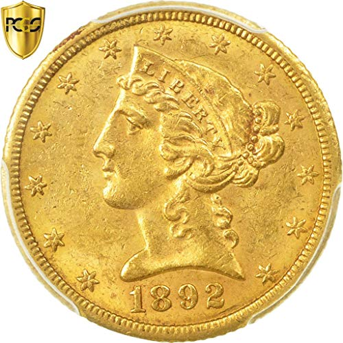 1892 CC Coronet Head $5, Half Eagle PCGS MS61