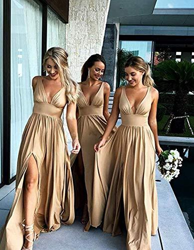 1784c6b8ad3e1 Yangprom V-Neck Backless Long Slit Side Beach Wedding Bridesmaid Dresses
