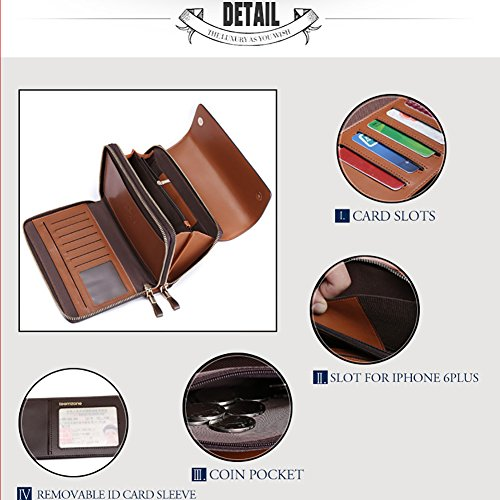 Clutch Wallet Genuine Mens Handbag Organizer Leather Strap Bag Checkbook Case with Black Teemzone Card xwtqf58dw