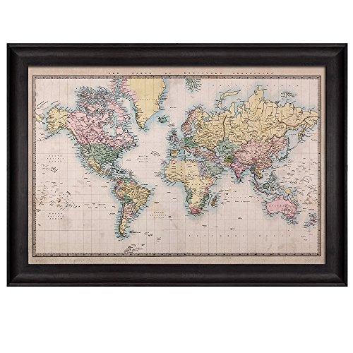 Antique World Map in a Pastel Color Scheme Framed Art