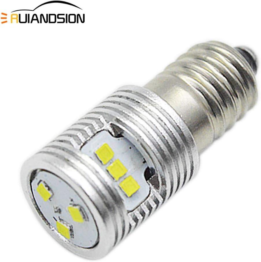 Ruiandsion - 1 bombilla LED E10 de 6 a 24 V, 1 W, repuesto para faros delanteros y linternas, kit de conversión de bombillas LED, sin polaridad