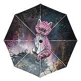 Travel Umbrella Windproof, Cute Sweet Fox Galaxy Black Glue Anti UV Coating, Compact