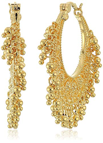 18k Yellow Gold Plated Bronze Indian Ethnic Chand Bali Hoop Earrings